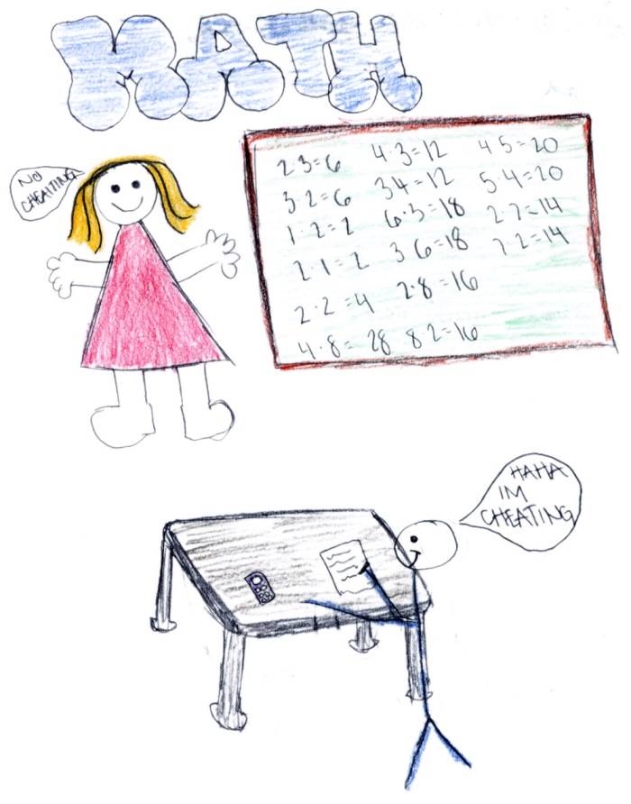 This boy's drawing is interesting in that it shows him cheating in math class.