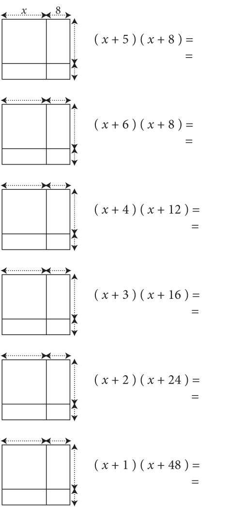 Page 3 (back): Six more problems with the rectangles even smaller and the lengths and widths missing. Notice the last five problems involve the factors of 48.